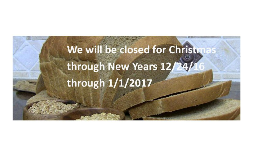 Closed Christmas through New Year